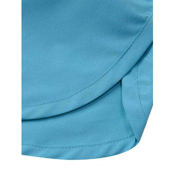 Mesh Lined Dolphin Hem Beach Shorts - LAKE BLUE XL