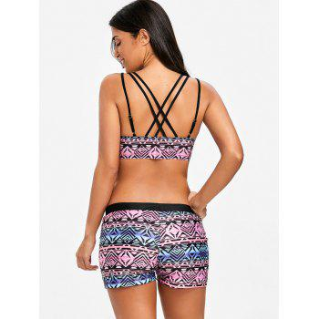Open Back Tribal Print Three Piece Swimsuits - COLORMIX XL