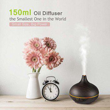 VicTsing 150ml Wood Grain Cool Mist Humidifier Color Lights Aroma Diffuser - DEEP BROWN EU PLUG