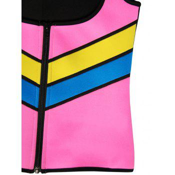 Plus Size Underbust Color Block Training Vest - PINK 5XL