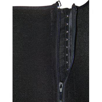 Plus Size Underbust Zipped Body Corset - BLACK 4XL