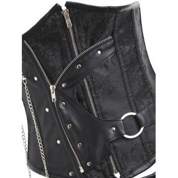 Chains Zipped Brocade Punk Corset with G-string - BLACK S