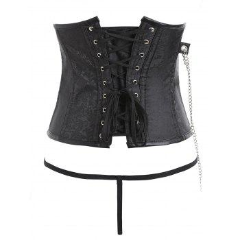 Chains Zipped Brocade Punk Corset with G-string - BLACK M