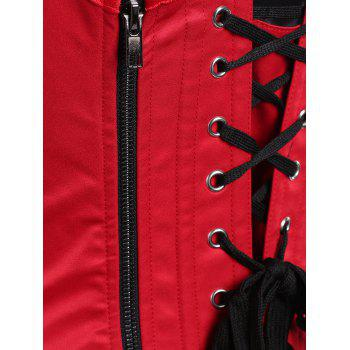 U Neck Embroidery Lace-up Corset Vest - BRIGHT RED S