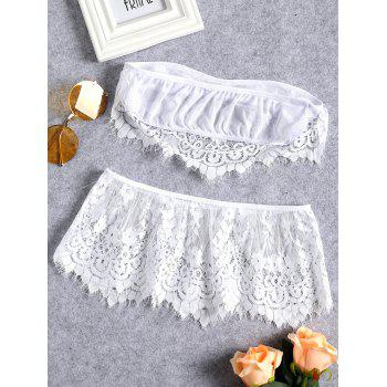 Sheer Lace Strapless Lingerie Set - WHITE XL