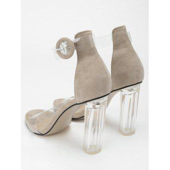 Lucite Heel Ankle Strap Buckled Sandals - APRICOT 38