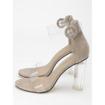 Lucite Heel Ankle Strap Buckled Sandals - APRICOT 35