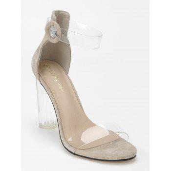 Lucite Heel Ankle Strap Buckled Sandals - APRICOT 36