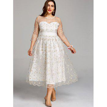 Plus Size Sheer Embroidery Tiny Floral Tulle Dress - WHITE 3XL
