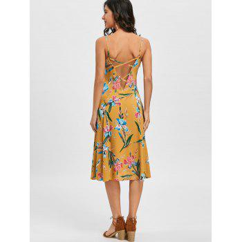 Backless Spaghetti Strap Floral Print Dress - GINGER M