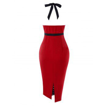 Retro Double Breasted Halter Neck Pencil Dress - RED M