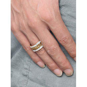 Rhinestoned Rotatable Chain Finger Ring - GOLDEN 10