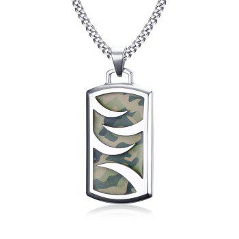 Camouflage Pattern Geometric Pendant Collarbone Necklace - SILVER