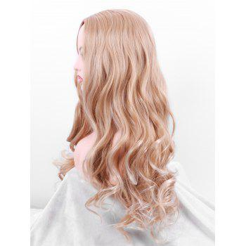 Long Center Parting Wavy Party Cosplay Synthetic Wig - VENETIAN GOLD