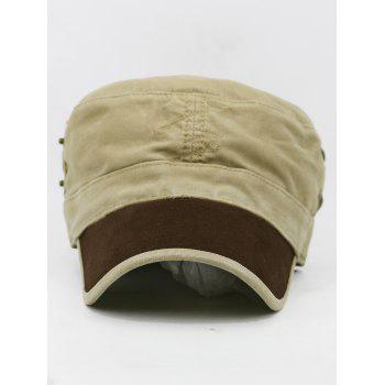 Line Embroidery Adjustable Army Hat - KHAKI