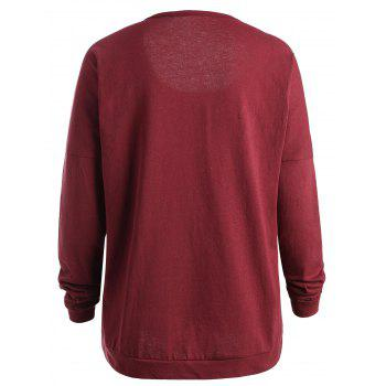 Long Sleeve Plus Size Star Patchwork T-shirt - RED 2XL
