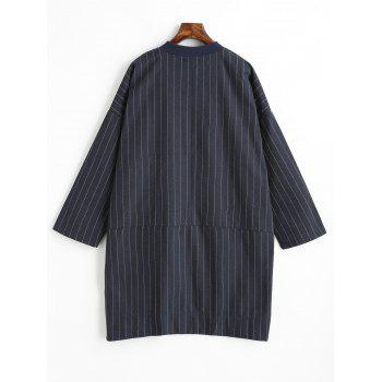 Striped Plus Size Button Up Coat - BLUE 3XL