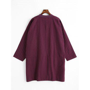 Striped Plus Size Button Up Coat - PURPLISH RED XL