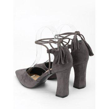 Tassel Block Heel Sandals - BEAN PASTE COLOR 35