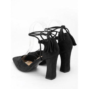 Tassel Block Heel Sandals - BLACK 37