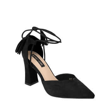 Tassel Block Heel Sandals - BLACK 35