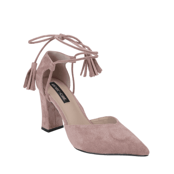 Tassel Block Heel Sandals - PINK 39