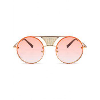 Anti-fatigue Hollow Out Metal Bar Round Sunglasses - GRADUAL PINK