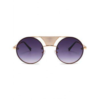 Anti-fatigue Hollow Out Metal Bar Round Sunglasses - GOLD FRAME/GREY LENS