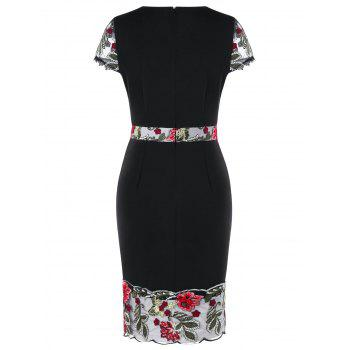 Embroidery V Neck Sheath Dress - BLACK 2XL