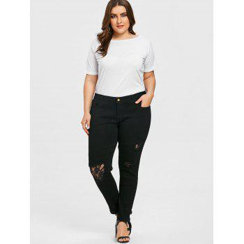 Plus Size Lace Insert Destroyed Frayed Jeans - BLACK 5XL