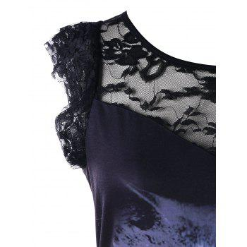 Animal 3D Print Lace Panel Graphic Tee - BLACK L
