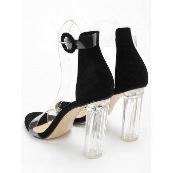 Lucite Heel Ankle Strap Buckled Sandals - BLACK 38