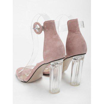 Lucite Heel Ankle Strap Buckled Sandals - PINK 40