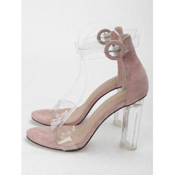 Lucite Heel Ankle Strap Buckled Sandals - PINK 38