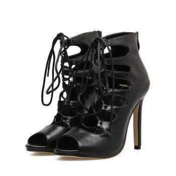 Lace Up Stiletto Heel Gladiator Sandals - BLACK 39