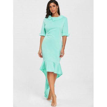 High Low Collared Mermaid Dress - GREEN L