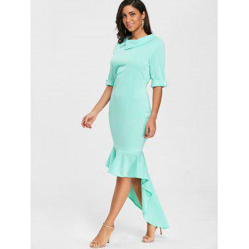 High Low Collared Mermaid Dress - GREEN XL