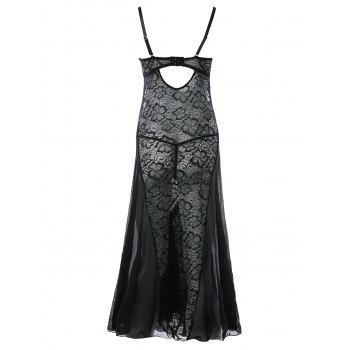 See Through Lace Long Babydoll Dress - BLACK ONE SIZE
