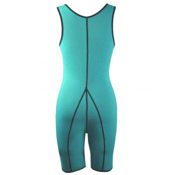 Plus Size Slimming Full Body Sauna Suit - BLUE GREEN 2XL