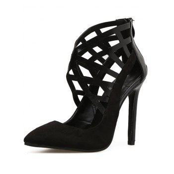 Hollow Out Pointed Toe Heels - BLACK 35