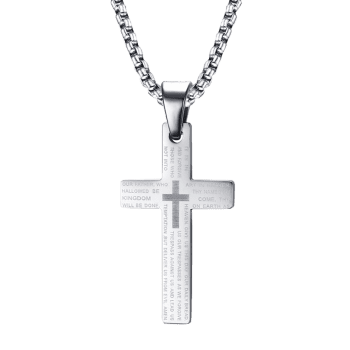 Simple Crucifix Pray Pendant Necklace - SILVER