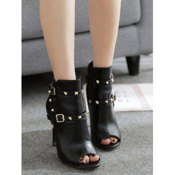 Studs Embellish Peep Toe Ankle Boots - BLACK 35