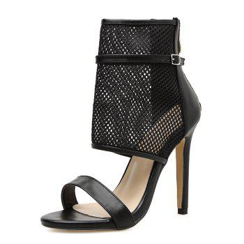 Gladiator Buckle Strap High Heel Sandals - BLACK 38