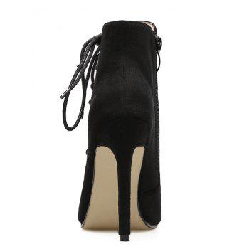 Side Lace Up Stiletto Heel Bootie Sandals - BLACK 37