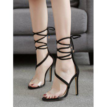 Transparent Strap Stiletto Heel Sandal - BLACK 37