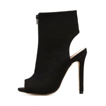 Front Zip Faux Suede Bootie Sandals - BLACK 35