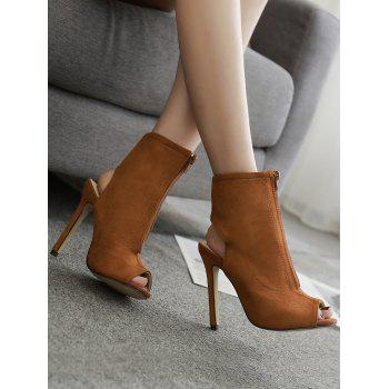 Front Zip Faux Suede Bootie Sandals - BROWN 37