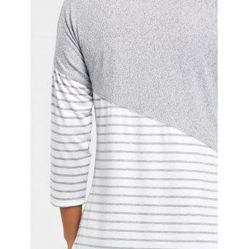Dropped Shoulder Stripe Patchwork Tee - GRAY S