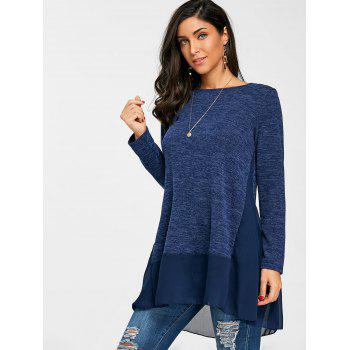 Heather Chiffon Trimmed Long Sleeve Top - BLUE M