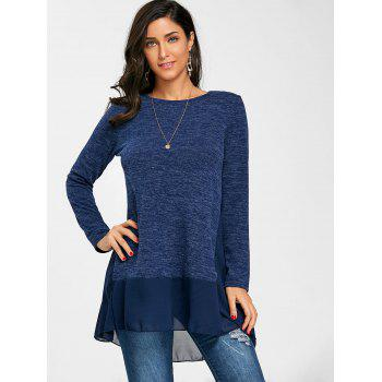 Heather Chiffon Trimmed Long Sleeve Top - BLUE S